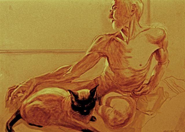 """Latte and David""  ©2005 Dickinson 19″ X 26″ pastel on velour."